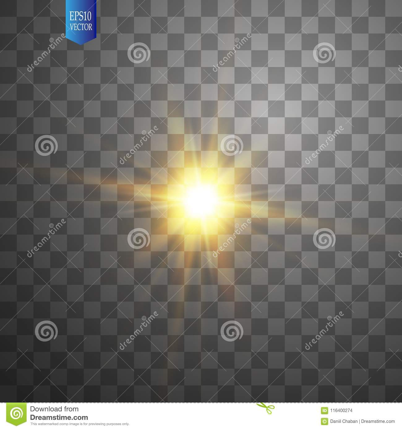 White glowing light burst explosion on transparent background. Vector illustration light effect decoration with ray