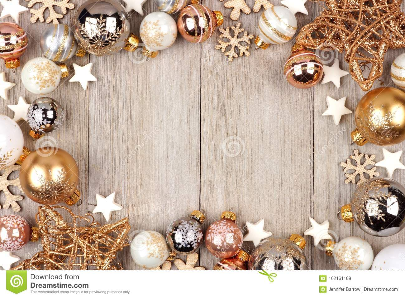 download white and gold christmas ornament frame on wood stock photo image of glittery