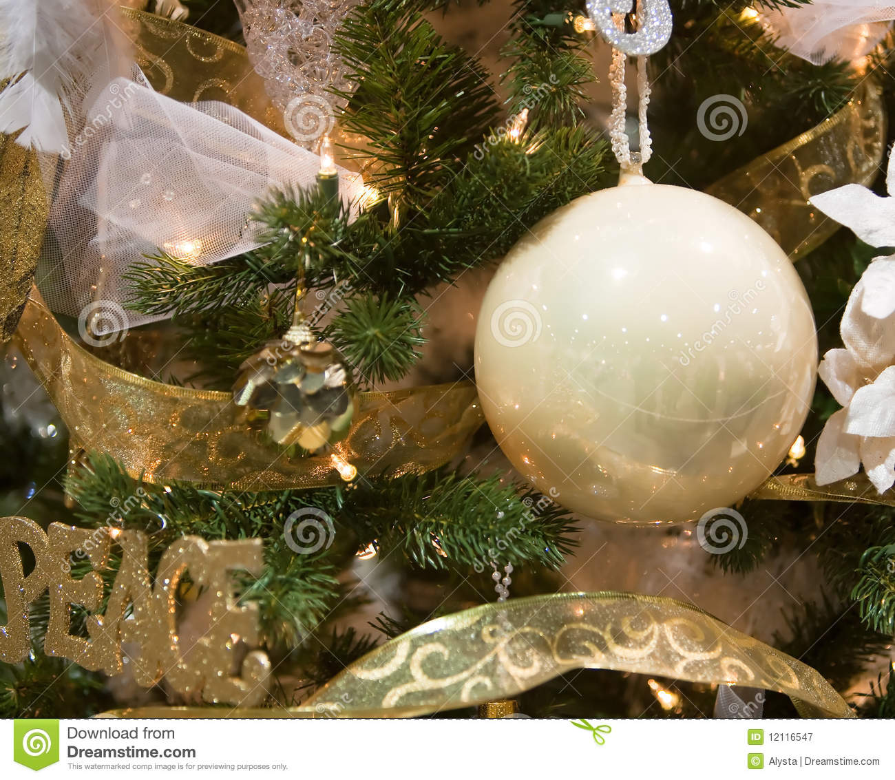 White and gold christmas tree ornaments royalty free stock for White and gold tree decorations