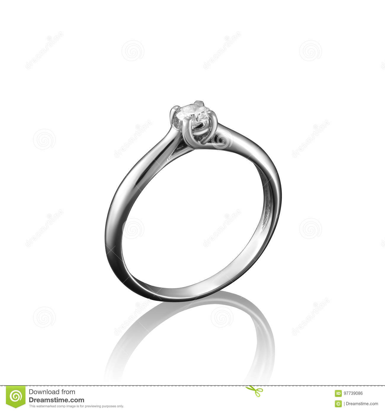 White gold diamond jewelry ring on white background with reflection