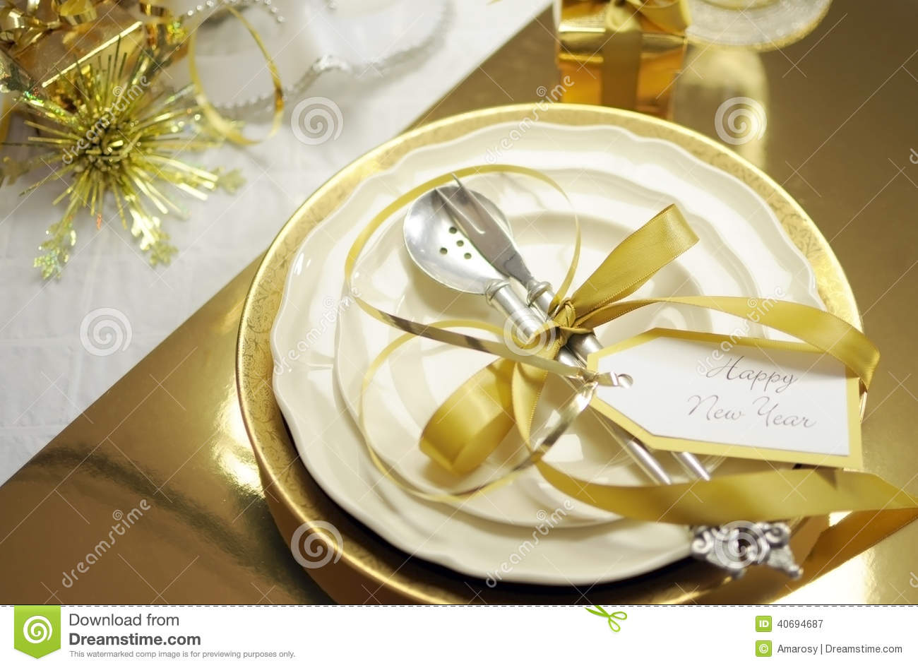 White And Gold Happy New Year Elegant Fine Dining Table  : white gold happy new year elegant fine dining table place setting theme christmas decorations 40694687 from www.dreamstime.com size 1300 x 946 jpeg 125kB