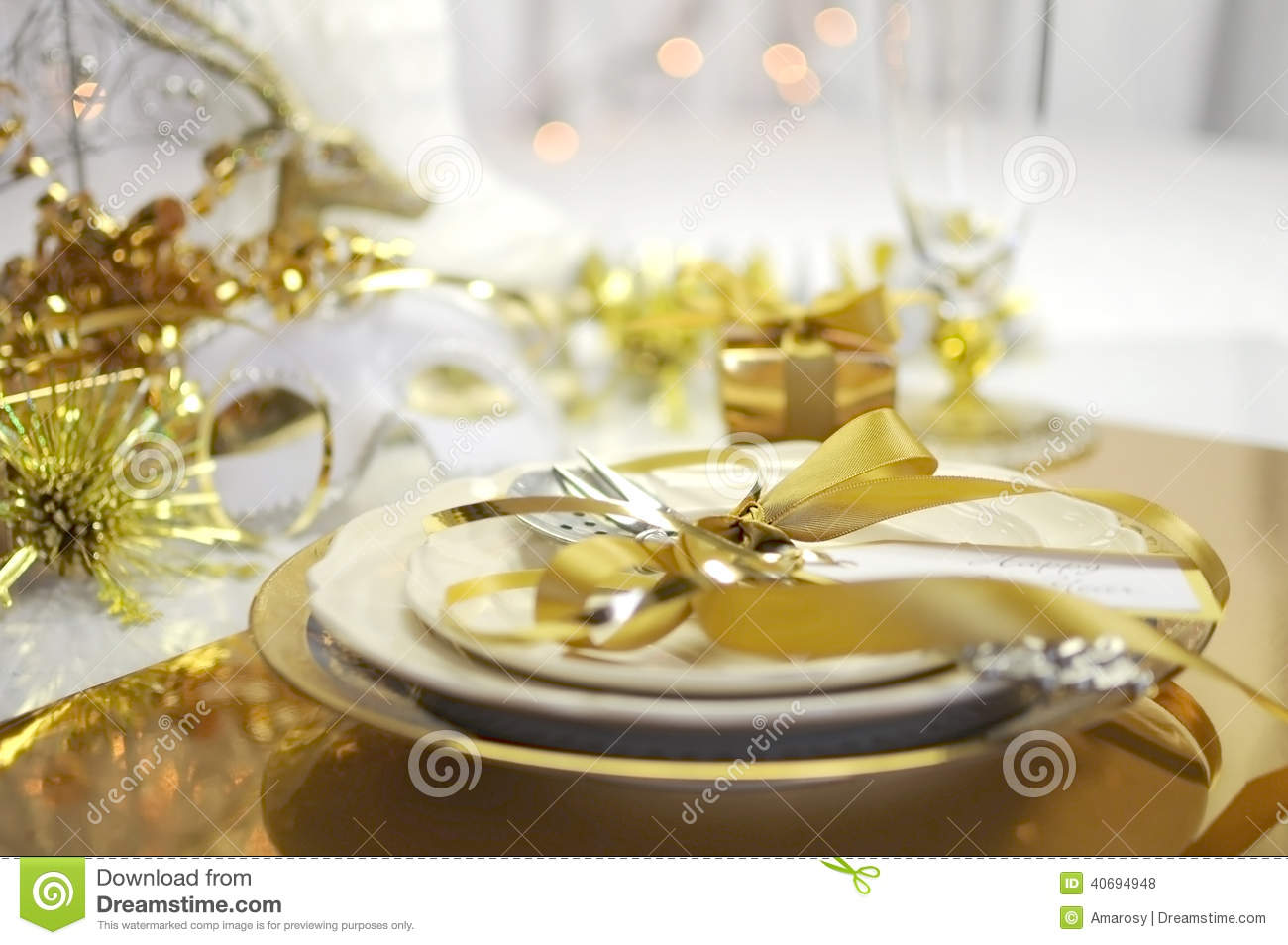 White and gold Happy New Year elegant fine dining table place setting ...