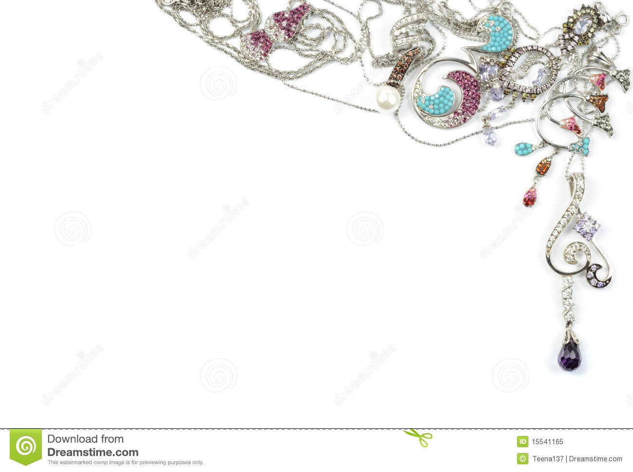White Gold Jewelry With Jems Stock Image Image Of