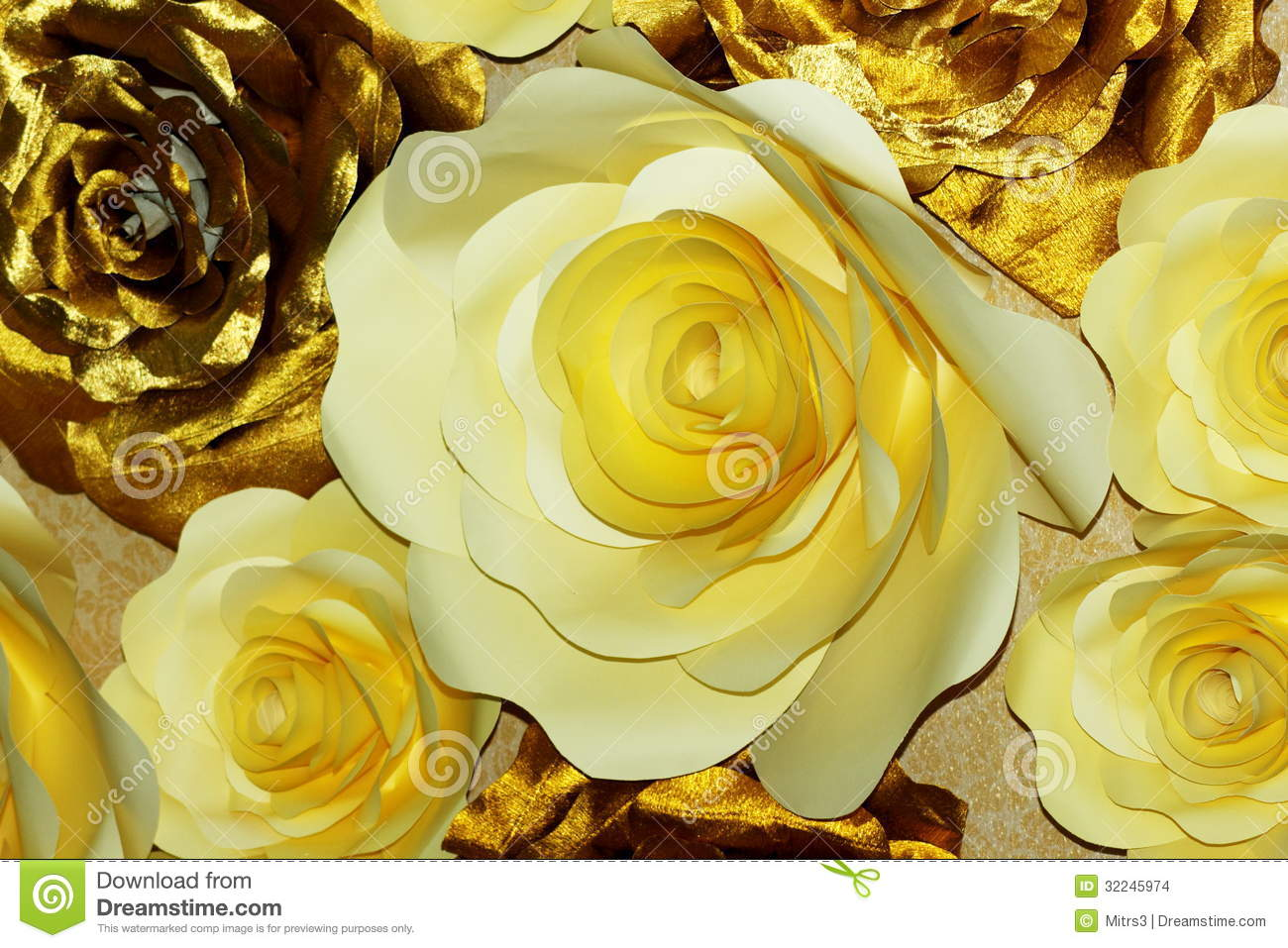 White And Gold Paper Flowers Stock Photo Image Of Decoration