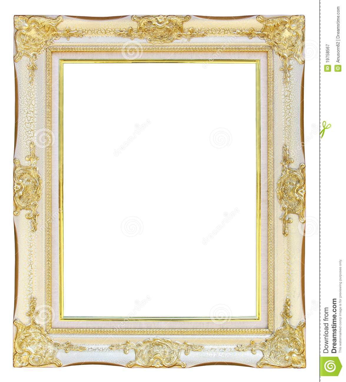 White Gold Picture Frame Stock Image Image Of Decorate 19758567