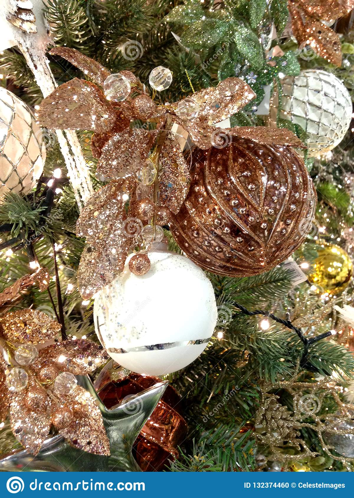 White And Golden Christmas Tree Decorations Stock Photo Image Of Decoraton Front 132374460