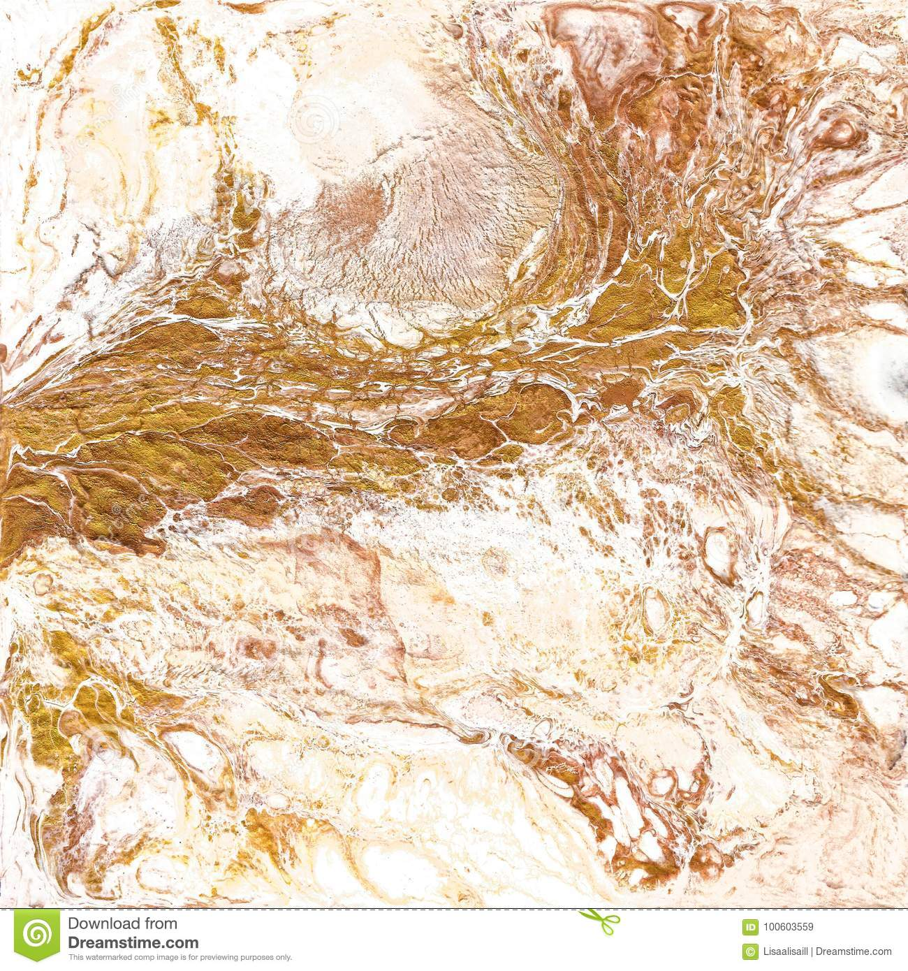 Hand draw painting with marbled texture and gold and bronze colors golden marble background with white colors