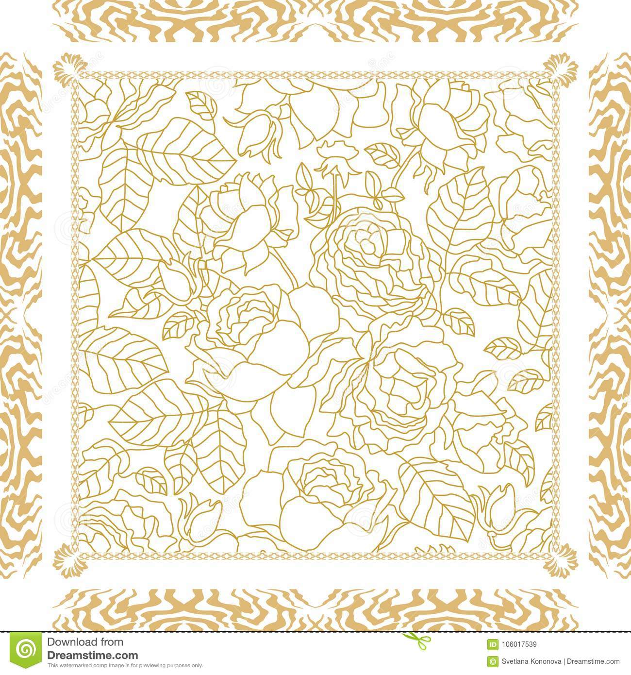 c340e13841d White and golden silk scarf with linear floral print and vintage frame.