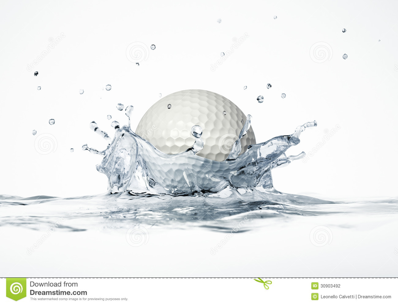 White golf ball splashing into water, forming a crown splash. On white ...