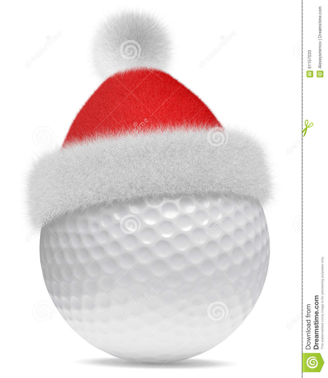 White Golfball In Santa Claus Red Hat Stock Illustration