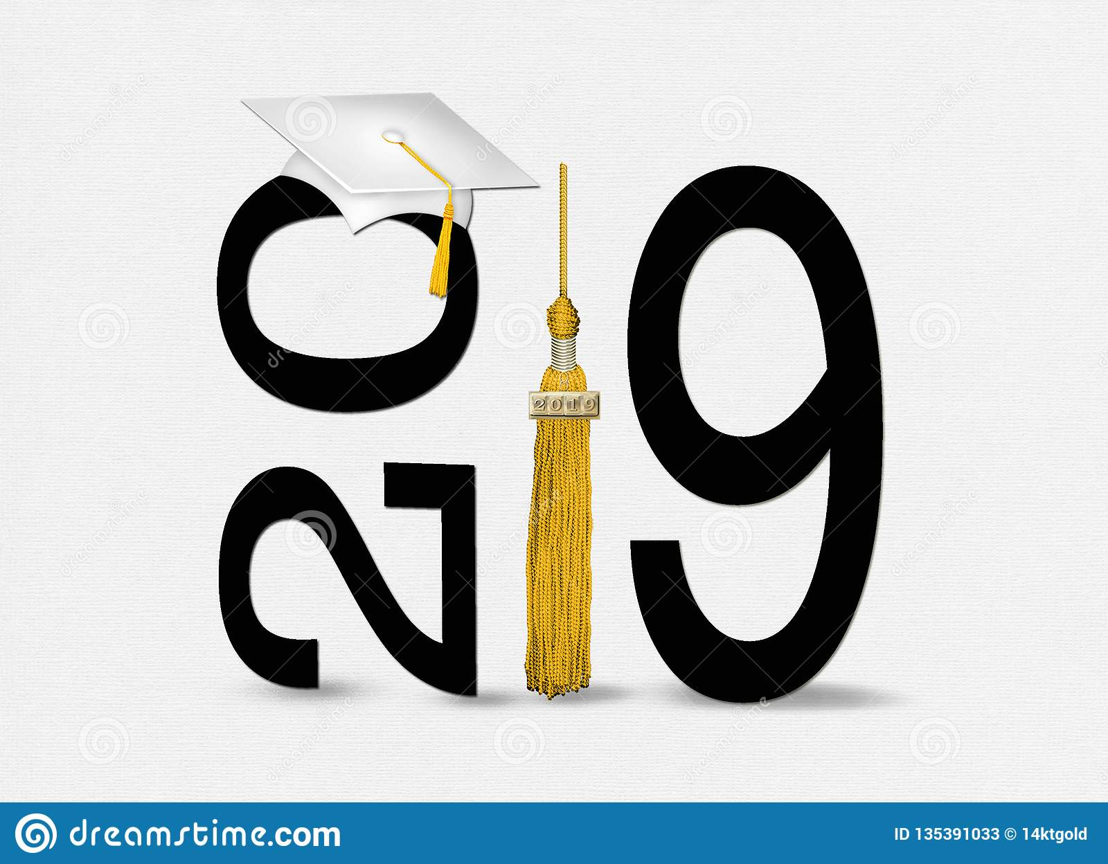 White Graduation Hat And Tassel For 2019 Stock