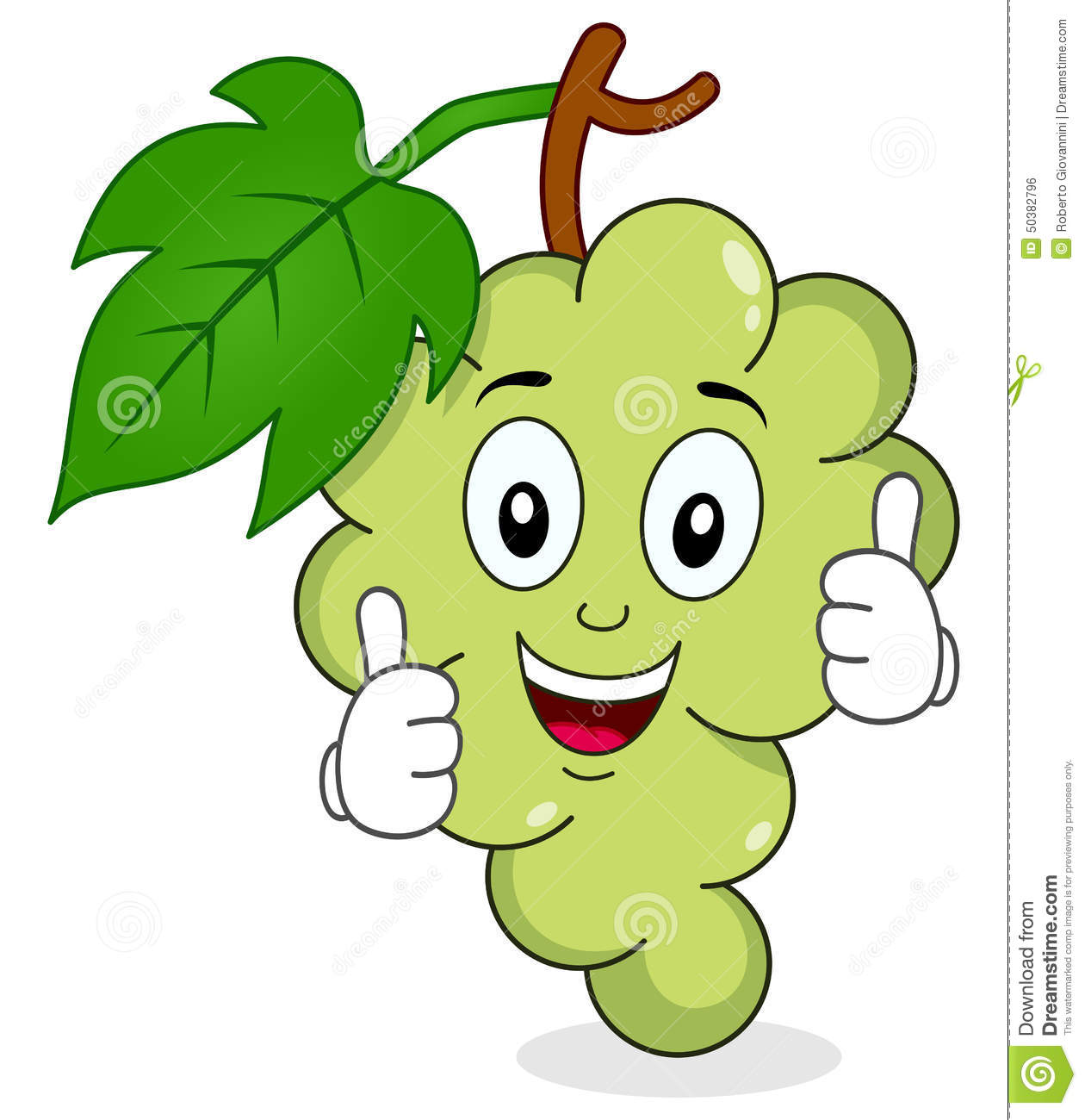 White Grapes Character With Thumbs Up Stock Vector - Image ...