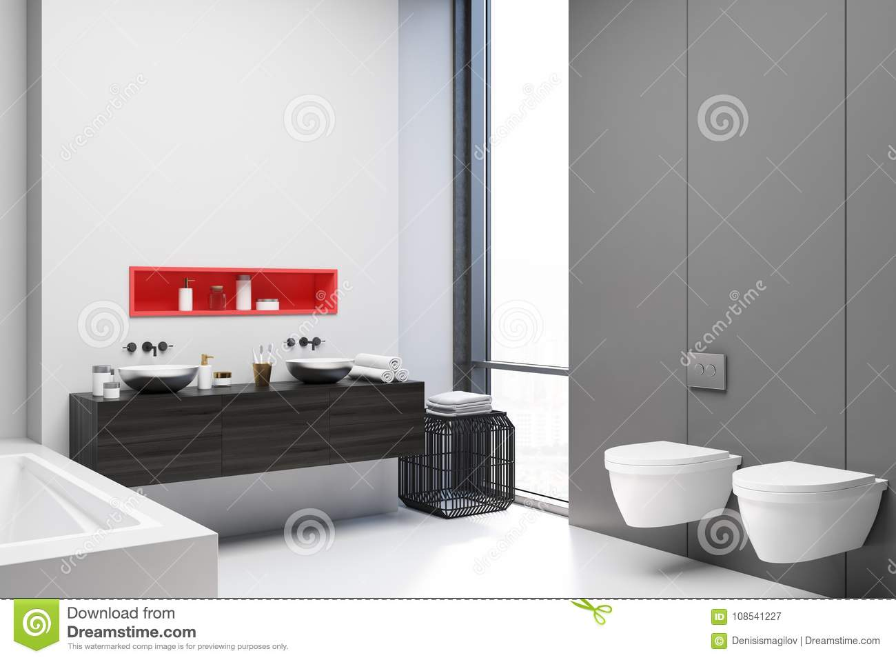 White And Gray Bathroom Corner, Toilets Stock Illustration ...