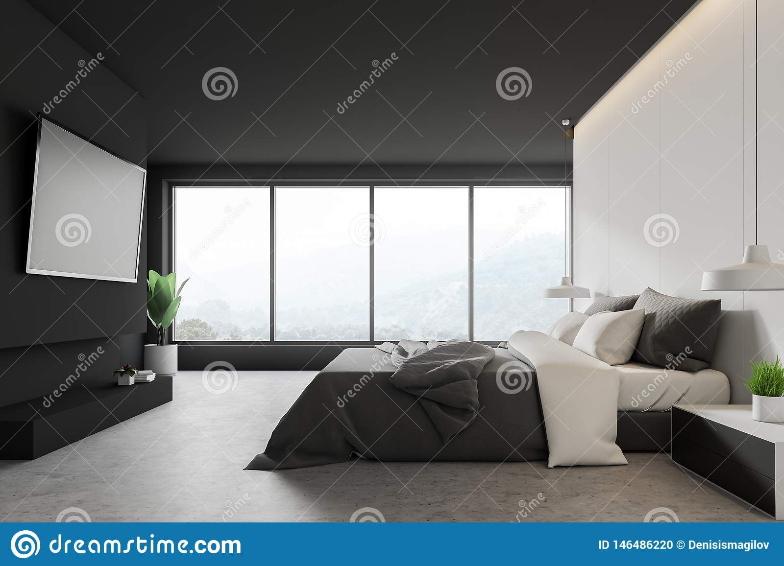 White and gray bedroom with TV