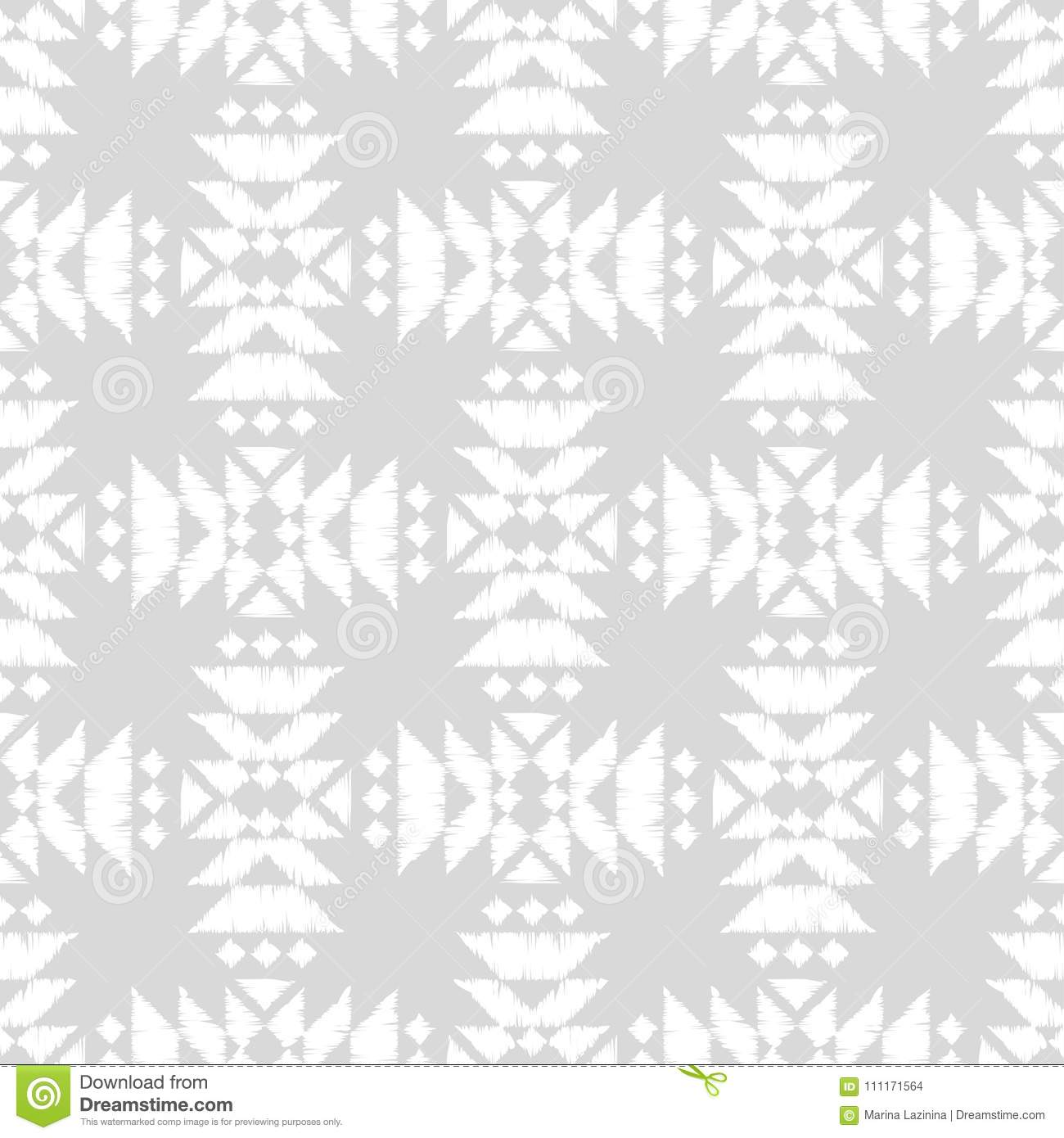 White And Gray Ethnic Boho Seamless Pattern Scribble Texture