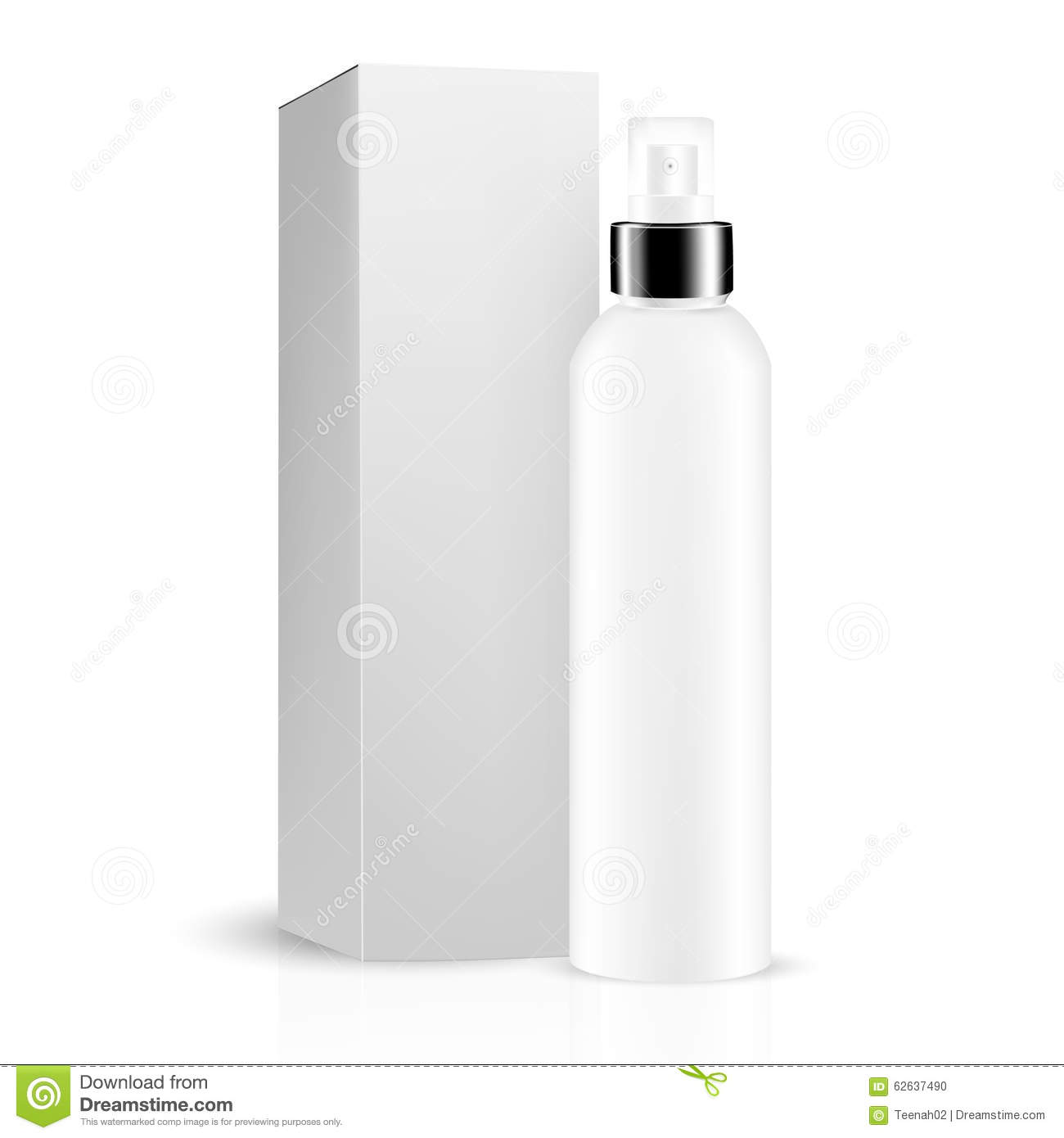 cologne box template - white gray round bottle sprayer with black lid box