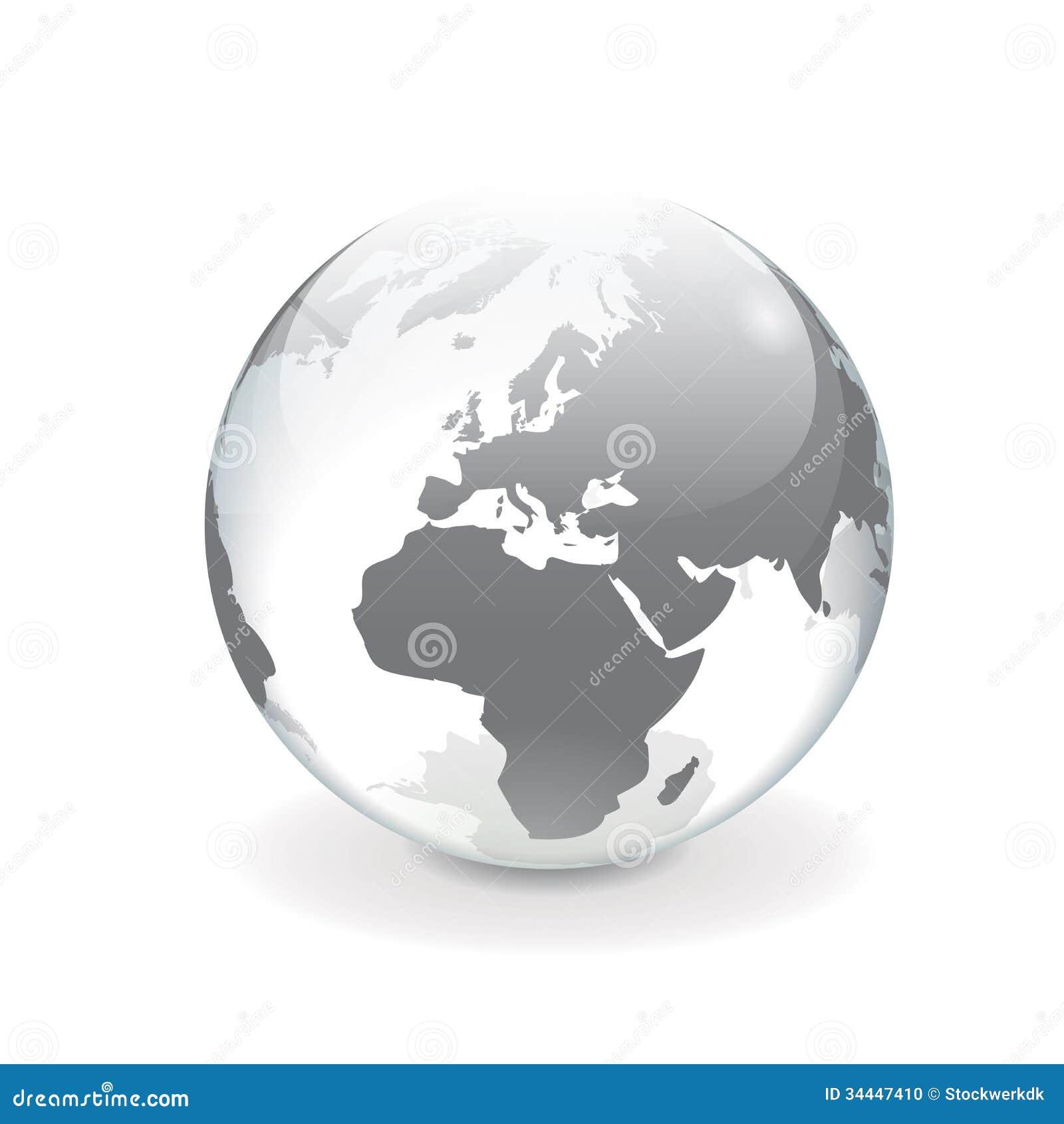 White Gray Vector World Globe Europe Stock Photo Image