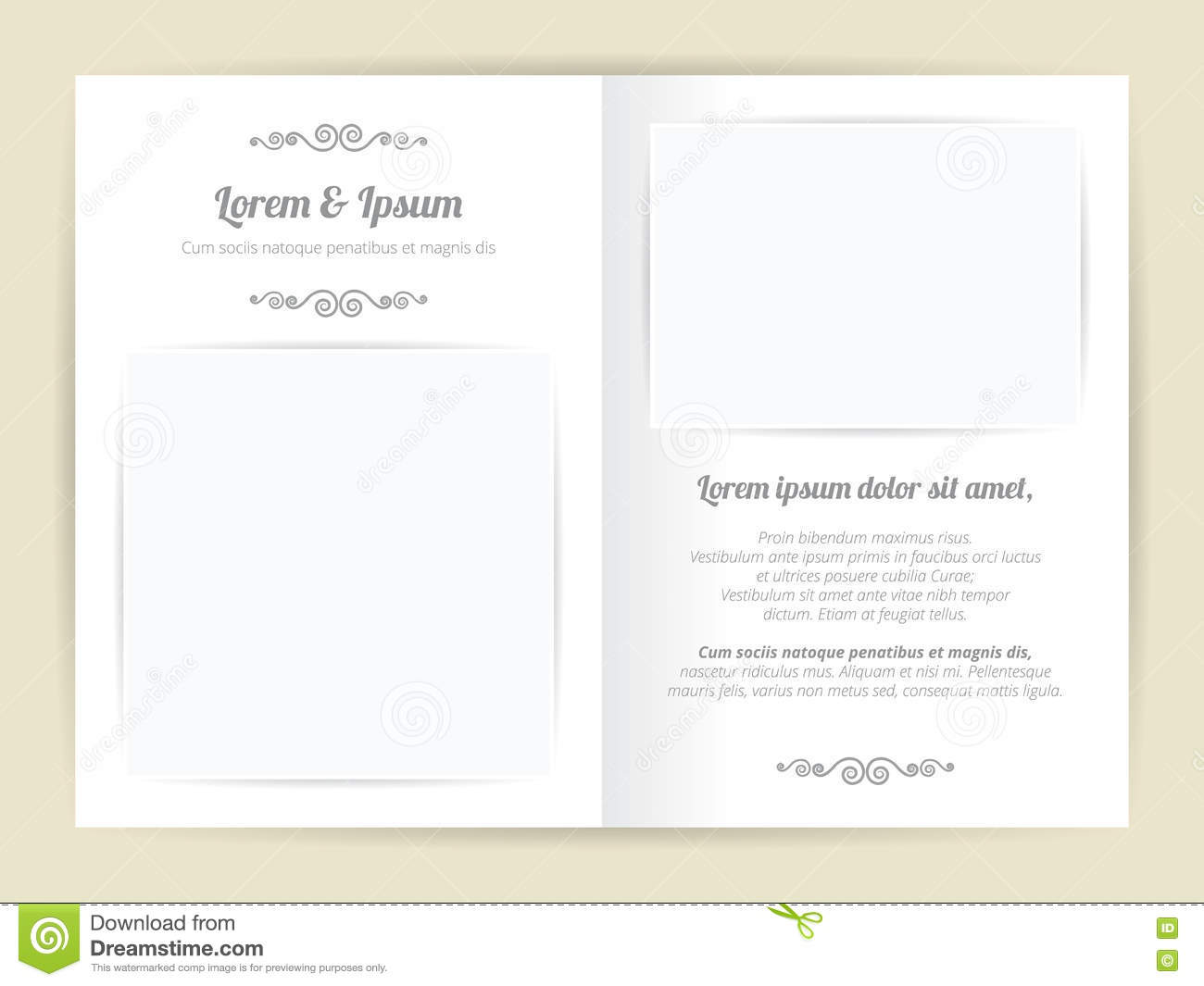 white gray wedding card template two page with basic blank square