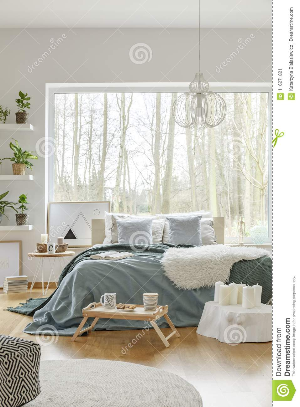 White And Green Bedroom Interior Stock Image - Image of ...