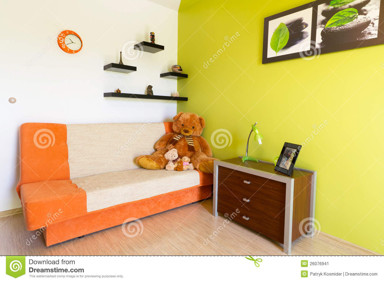 White And Green Bedroom With Orange Sofa Stock Image - Image ...
