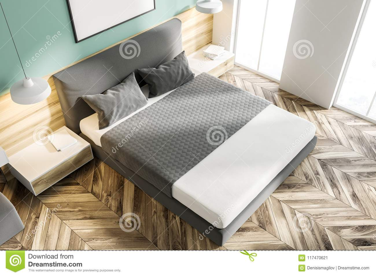 White And Green Bedroom With Poster Top View Stock Illustration