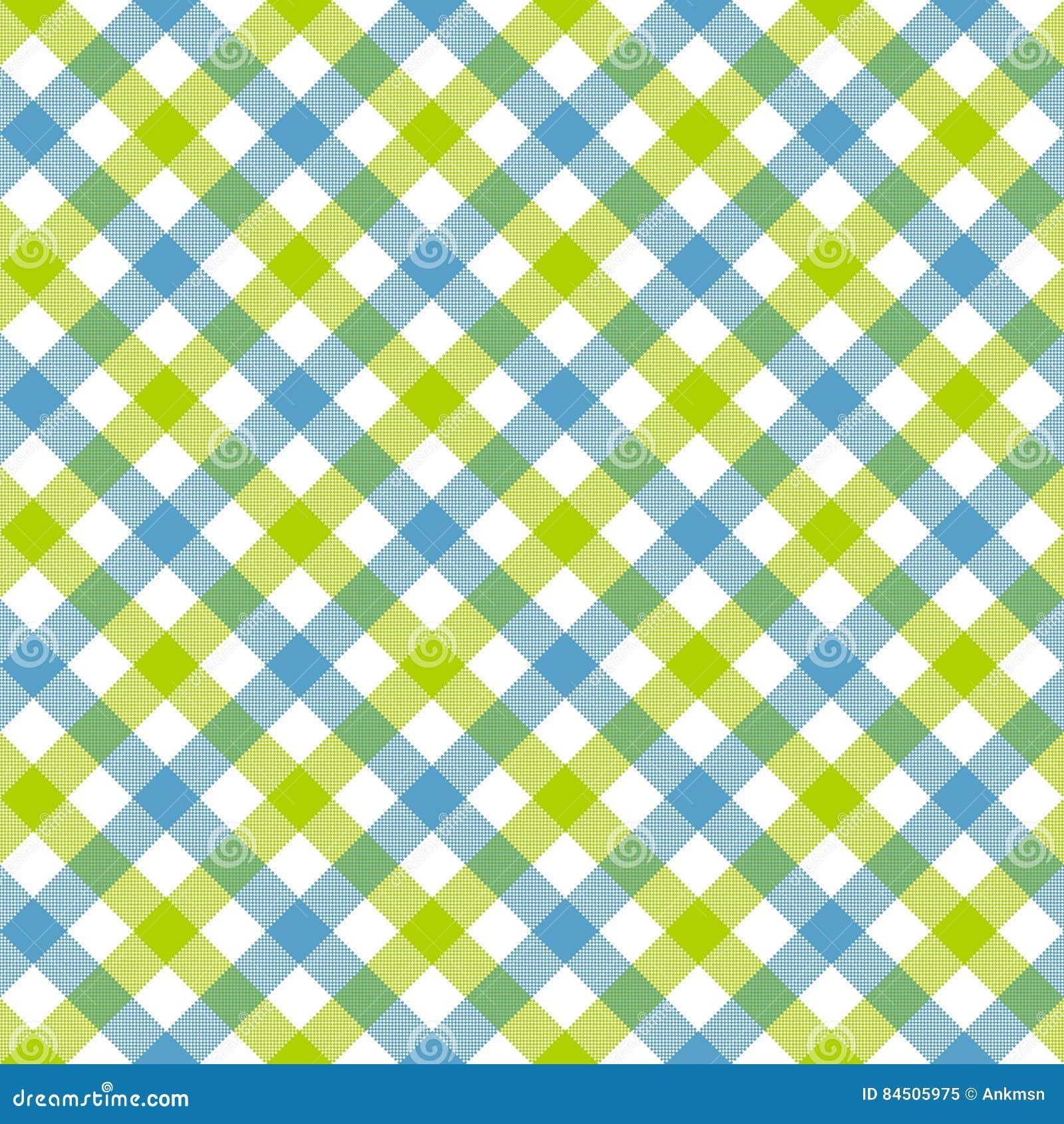 White Green Blue Check Plaid Fabric Texture Seamless Pattern