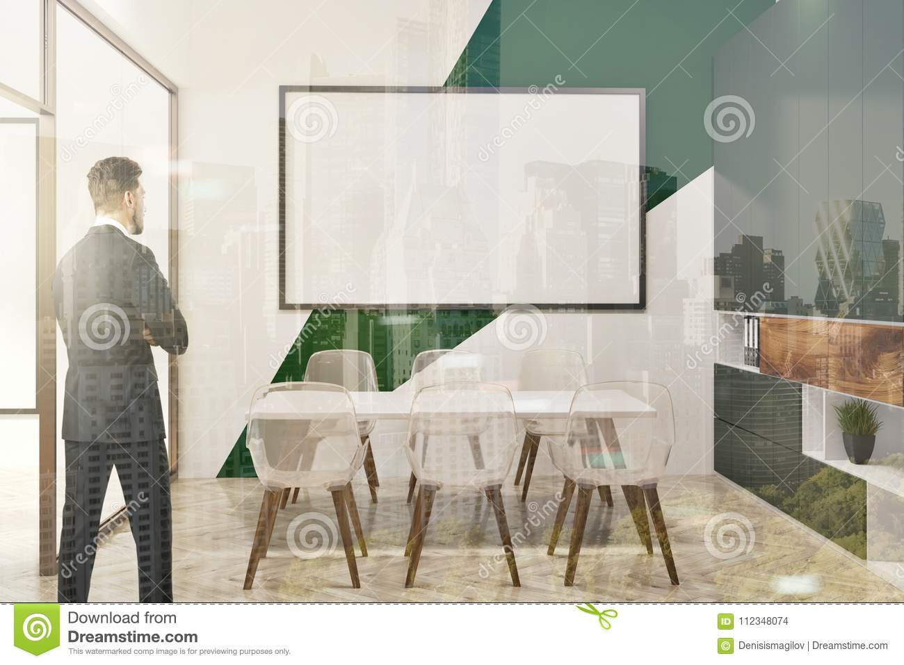 White And Green Conference Room Whiteboard Toned Stock Photo - Whiteboard conference table