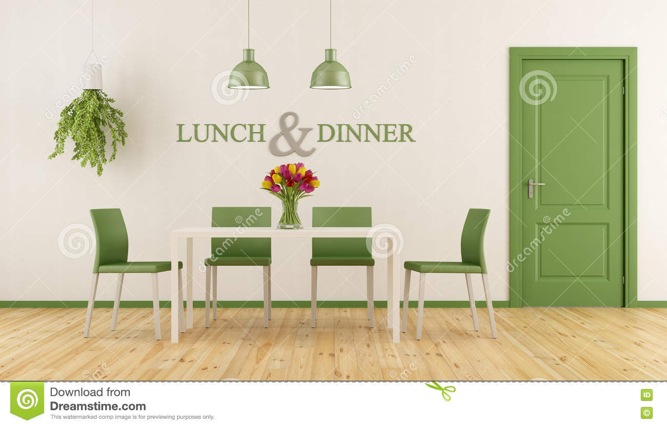 White and green dining room stock illustration illustration of architecture lamp 82176181 - Pale green dining room ...