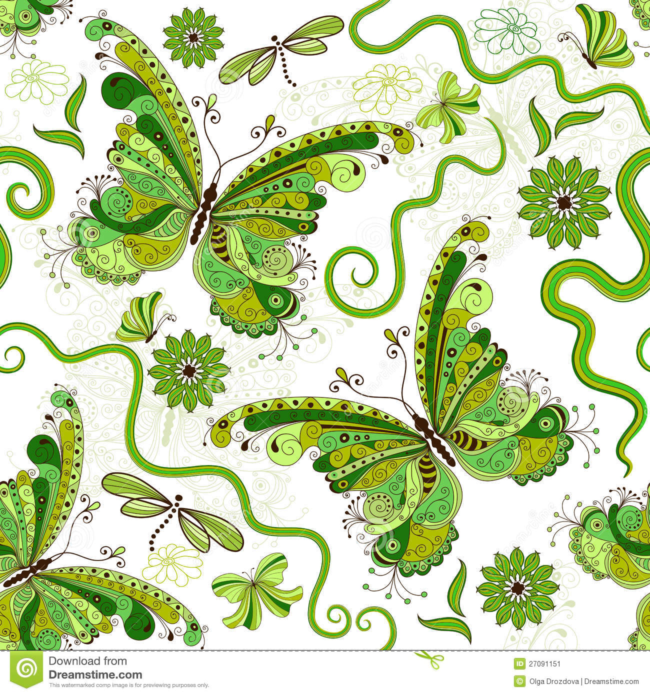 Green and white floral pattern - photo#1