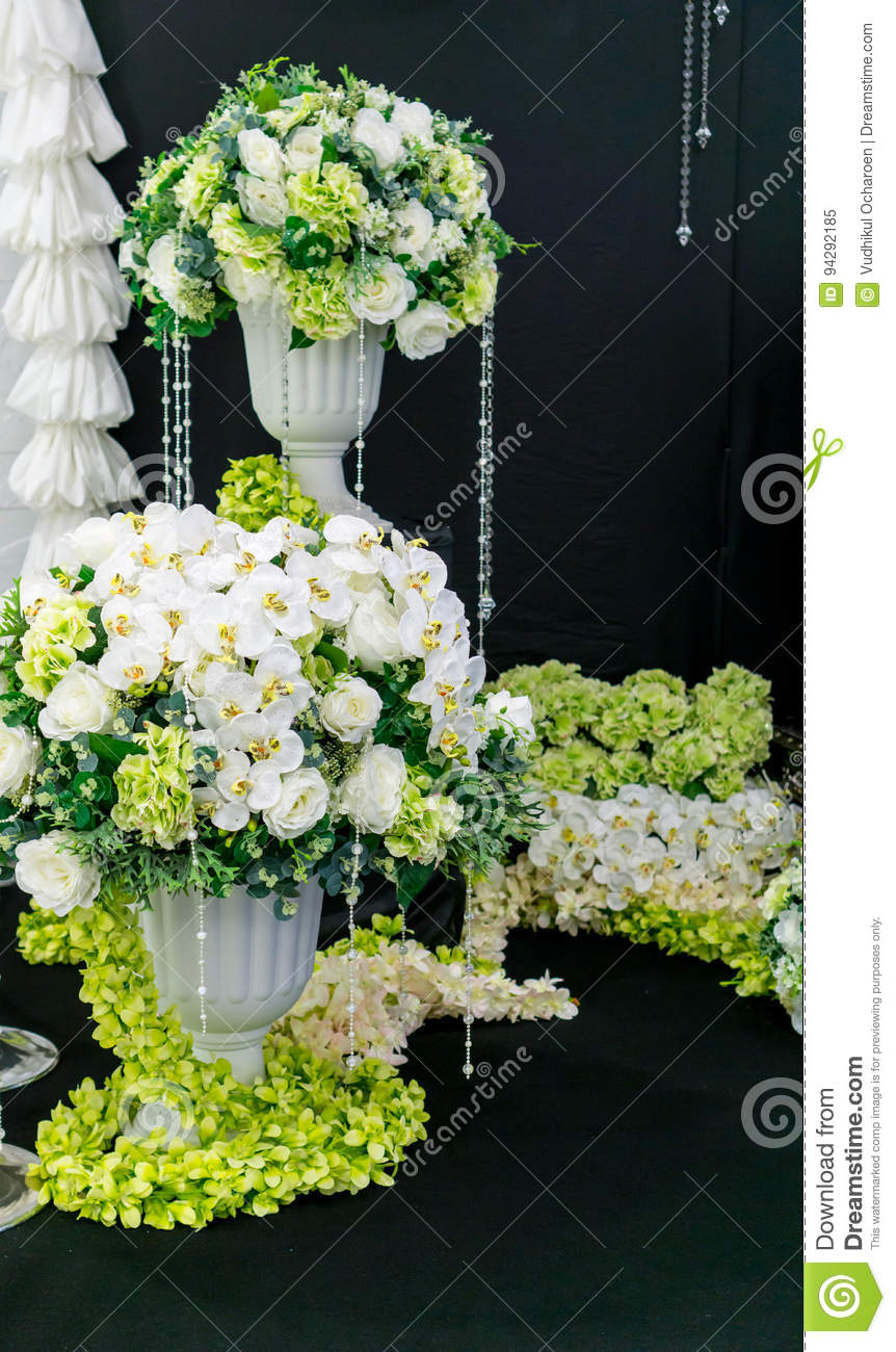 White And Green Flower Decoration Stock Image Image Of Flower