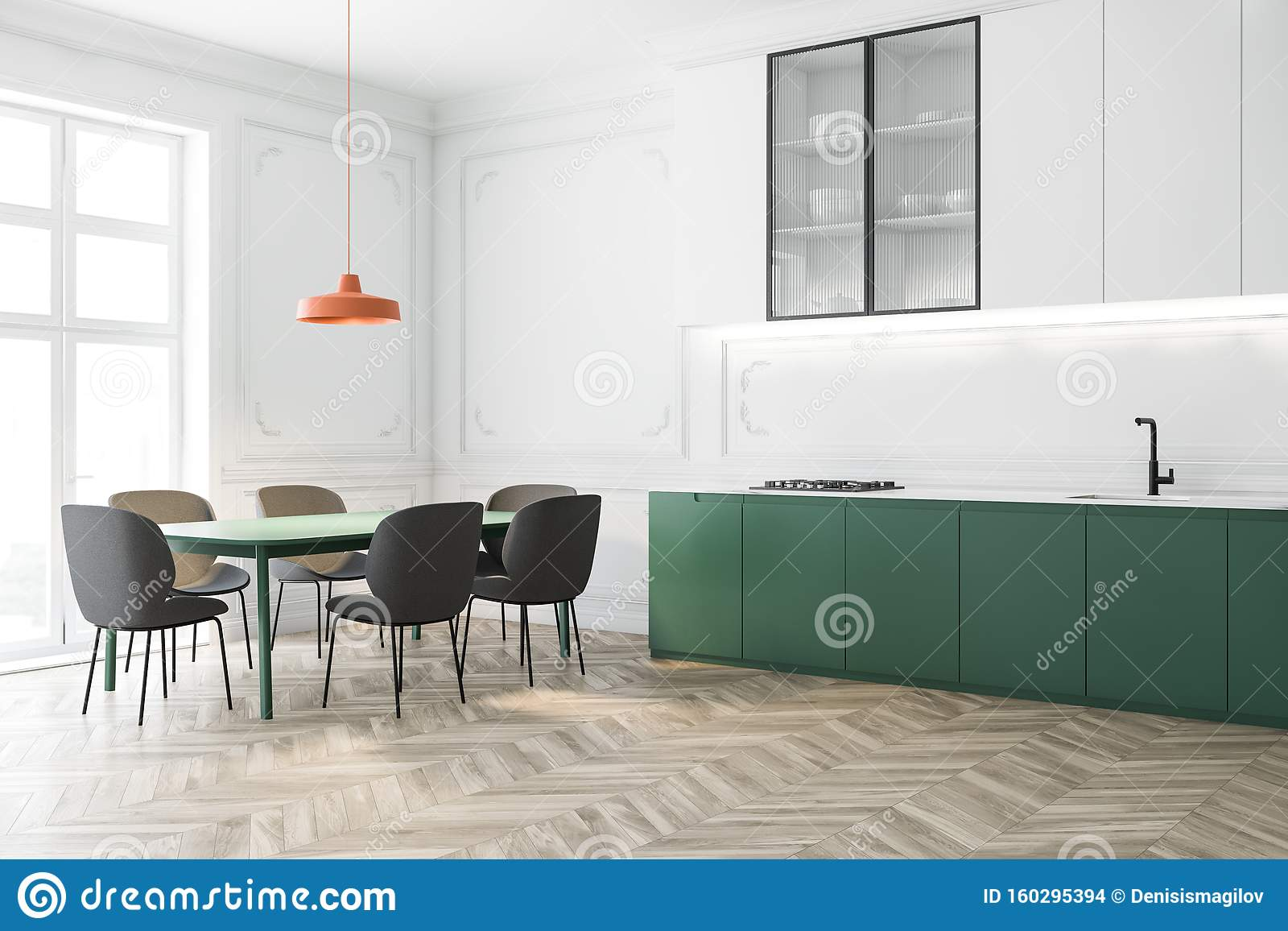 White And Green Kitchen Corner With Long Table Stock Illustration Illustration Of Cooking Faucet 160295394
