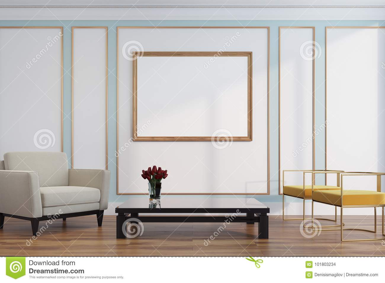 White And Green Living Room, Armchairs, Poster Stock Illustration ...