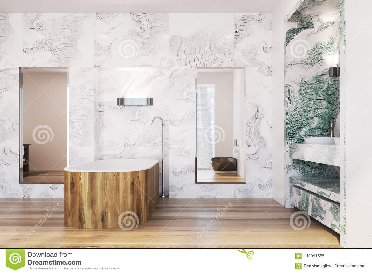 White And Green Marble Bathroom Interior Stock Illustration Illustration Of Beauty Bathing 110091555
