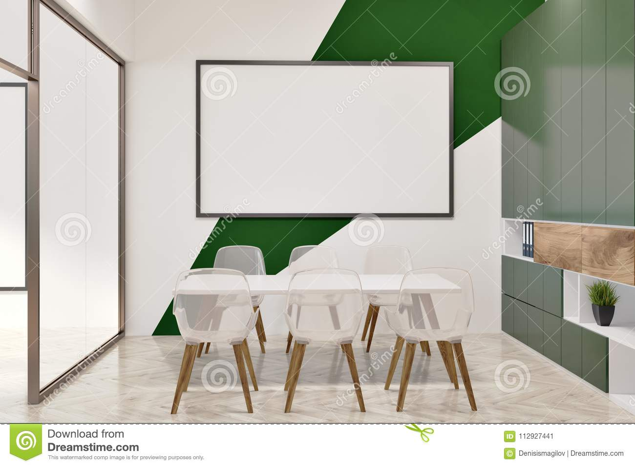 Download White And Green Office Conference Room, Whiteboard Stock  Illustration   Illustration Of Mockup,