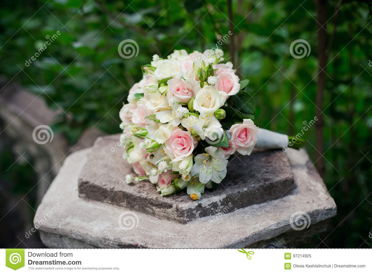 White Green Pink And Yellow And Pink Wedding Bouquet With Roses On