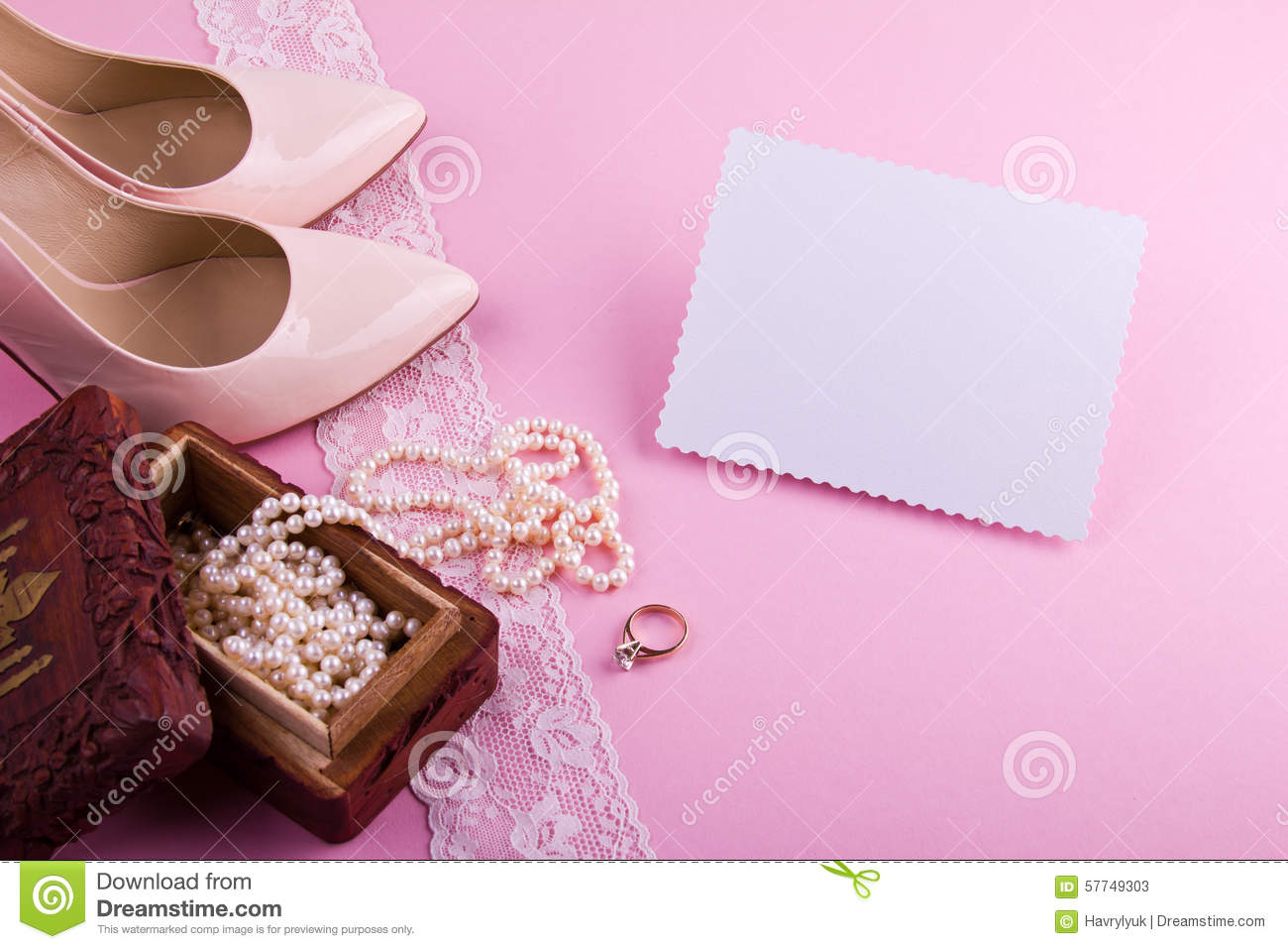 White greeting card with wavy edge beige leather shoes with high royalty free stock photo kristyandbryce Gallery