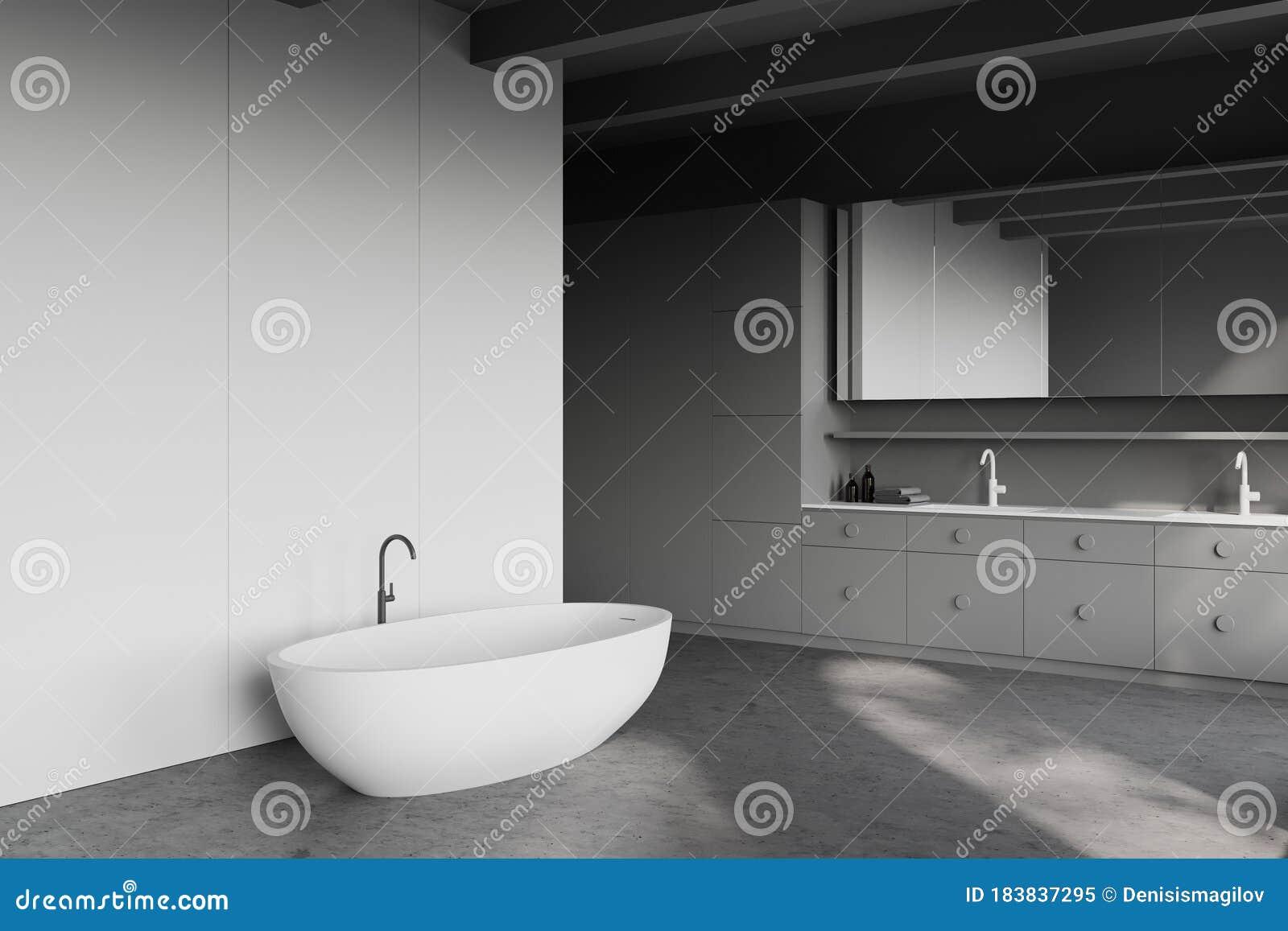 White And Grey Bathroom Corner Tub And Sink Stock Illustration Illustration Of Decor Master 183837295