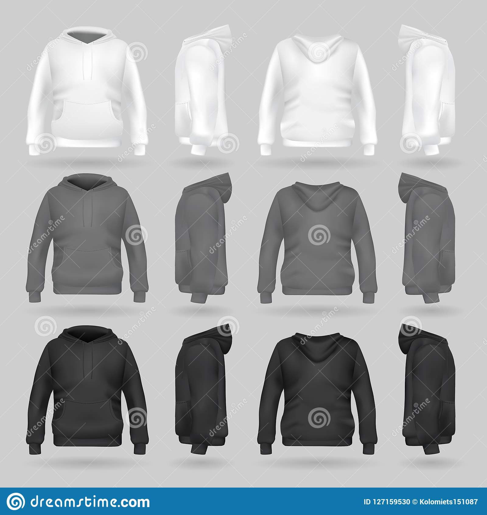 White Grey And Black Sweatshirt Hoodie Template In Four Dimensions Front Side Back View Realistic Gradient Mesh Vector Clothes For Sport Urban