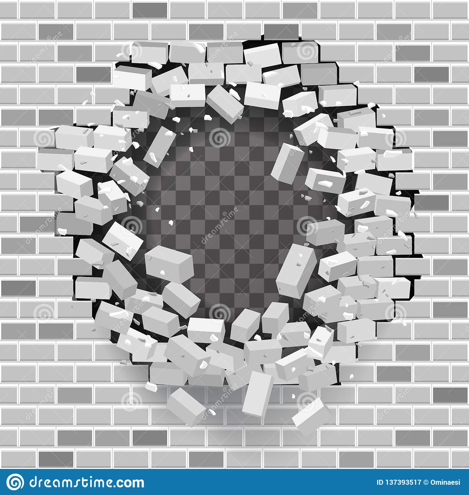 White Grey Brick Break Wall Hole Destruction Template
