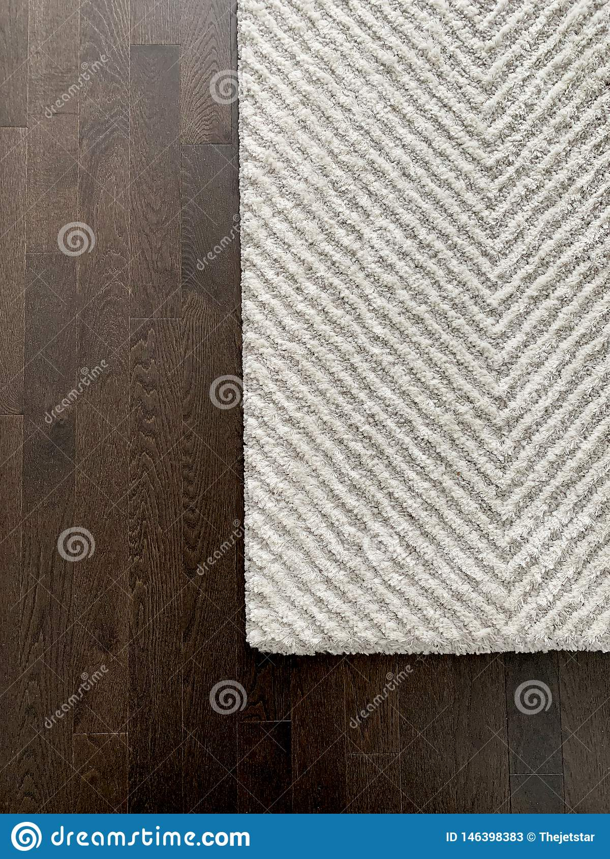 Picture of: White And Grey Chevron Rug On Dark Harwood Floor Texture Master Bedroom In Modern Luxury Home Stock Image Image Of Carpet Grey 146398383