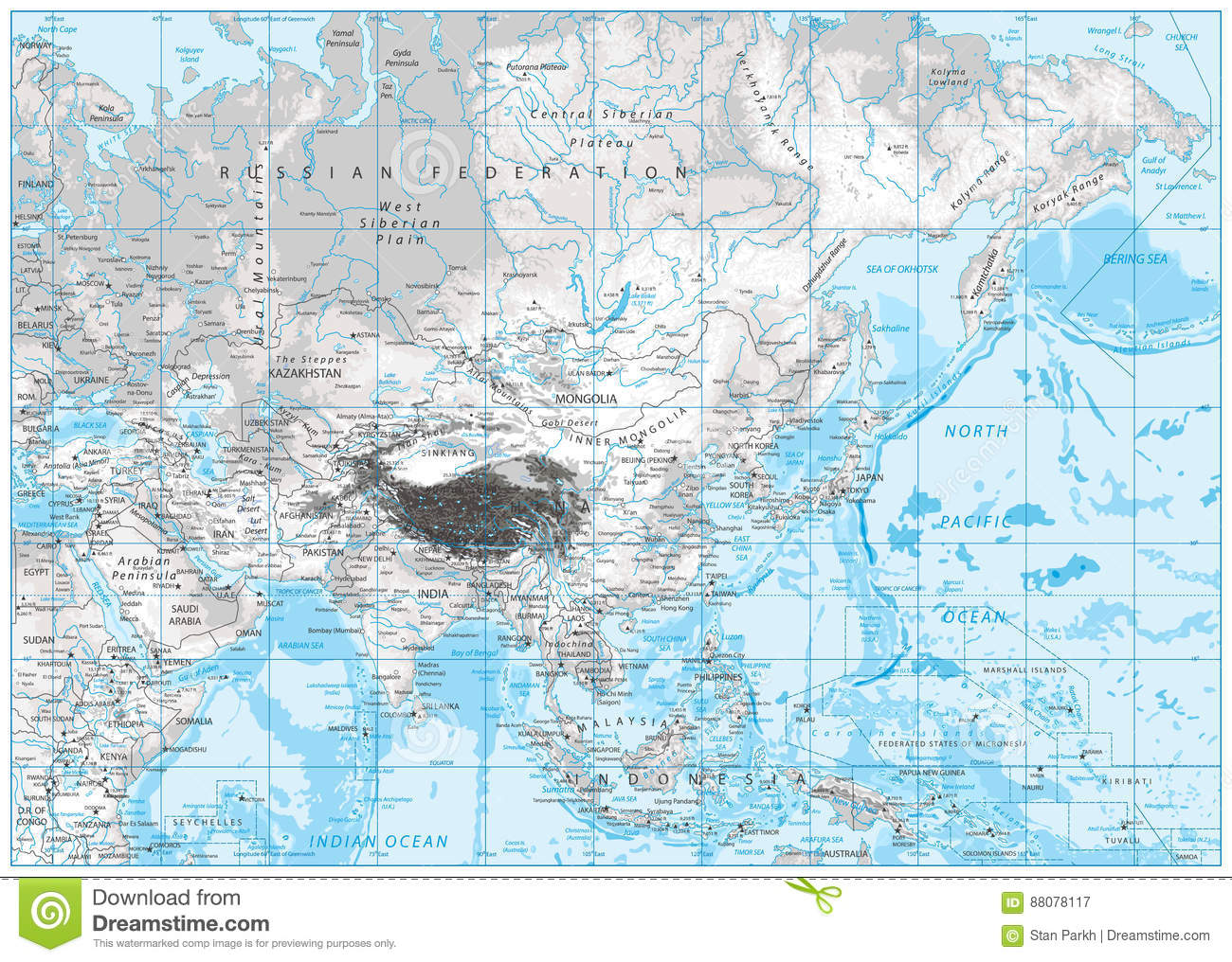 White And Grey Color Physical Map Of Asia Stock Vector