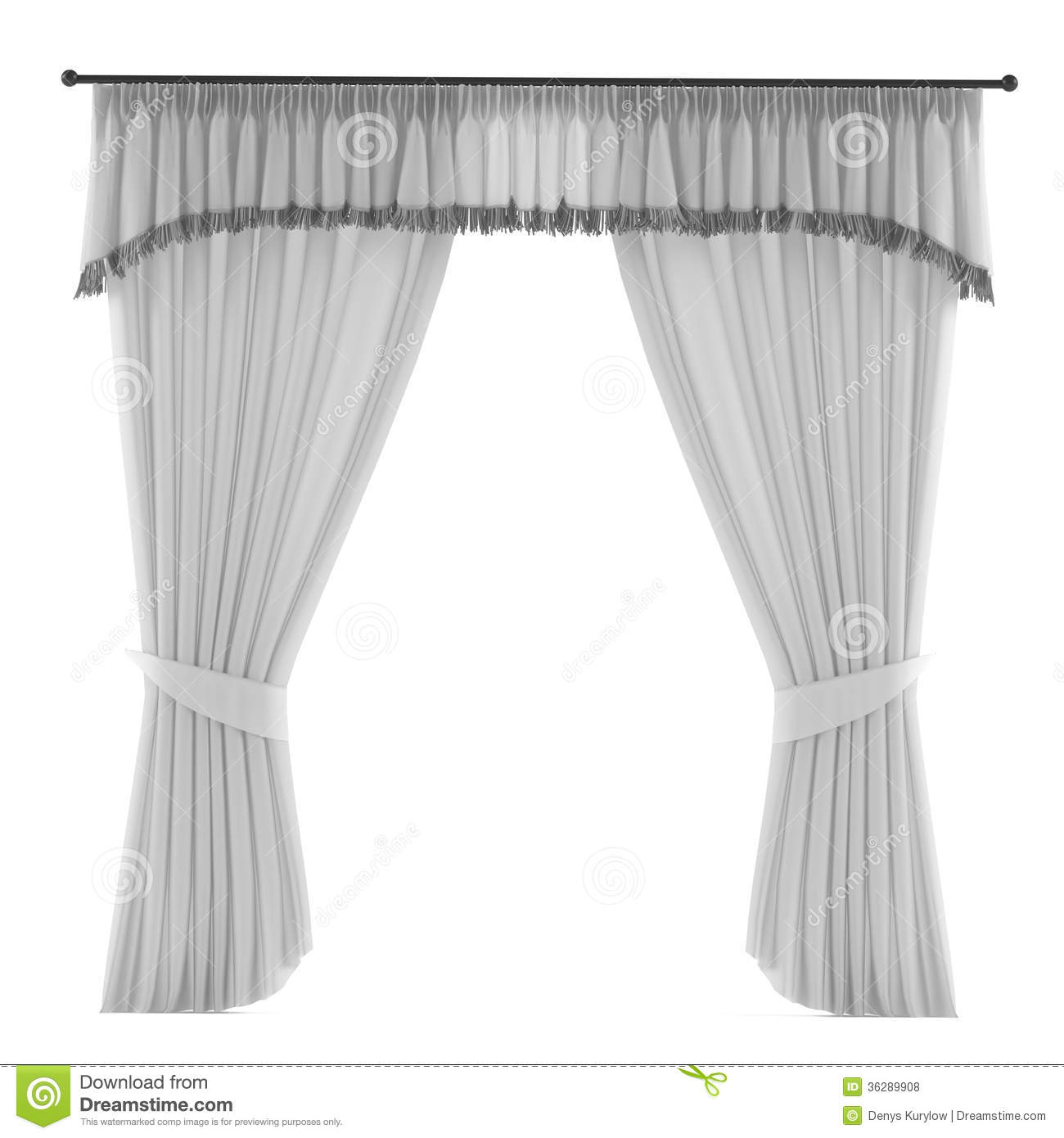 White Grey Curtain Isolated Royalty Free Stock Photos