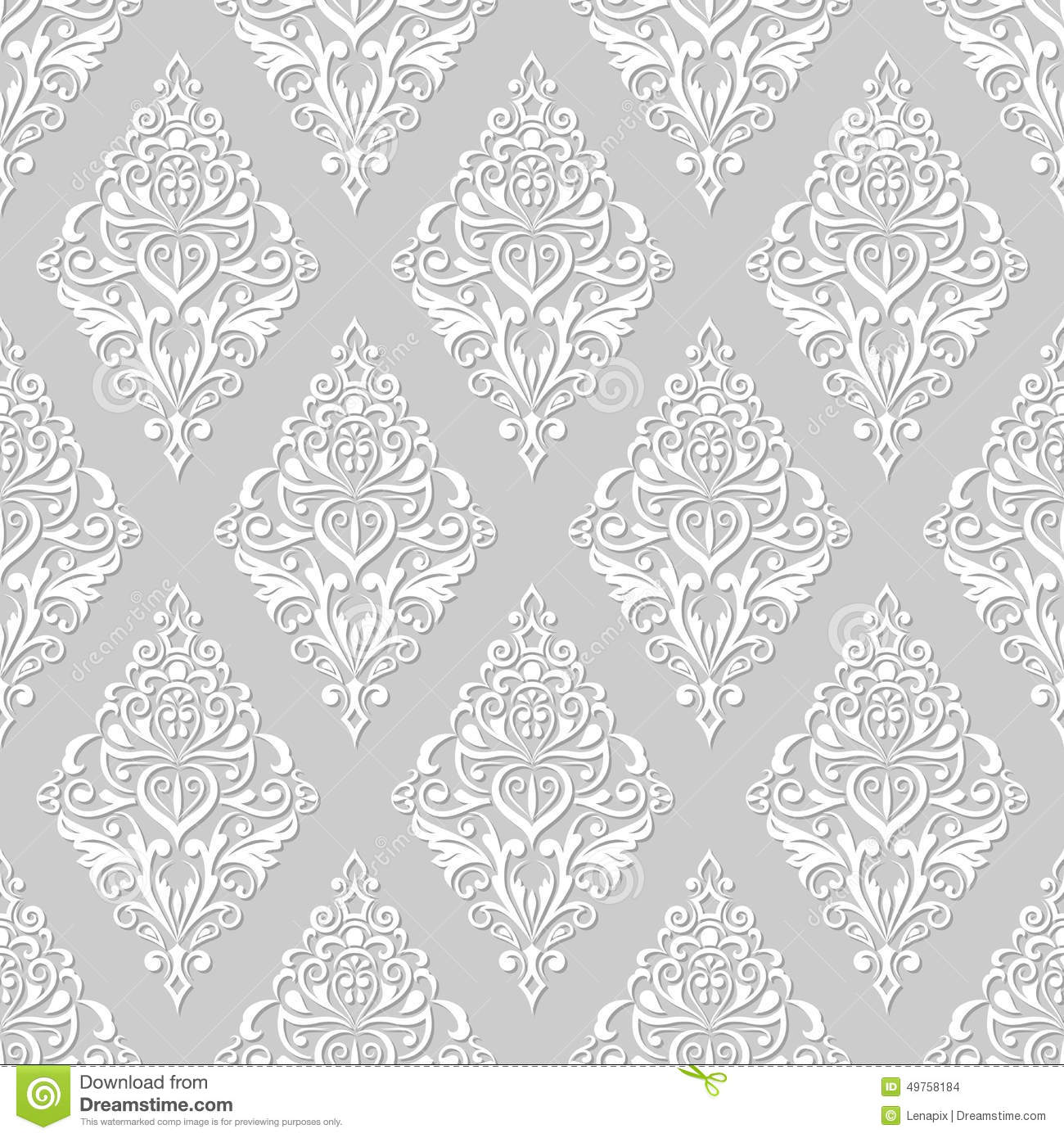 White and grey floral wallpaper stock vector image 49758184 for Gray and white wallpaper
