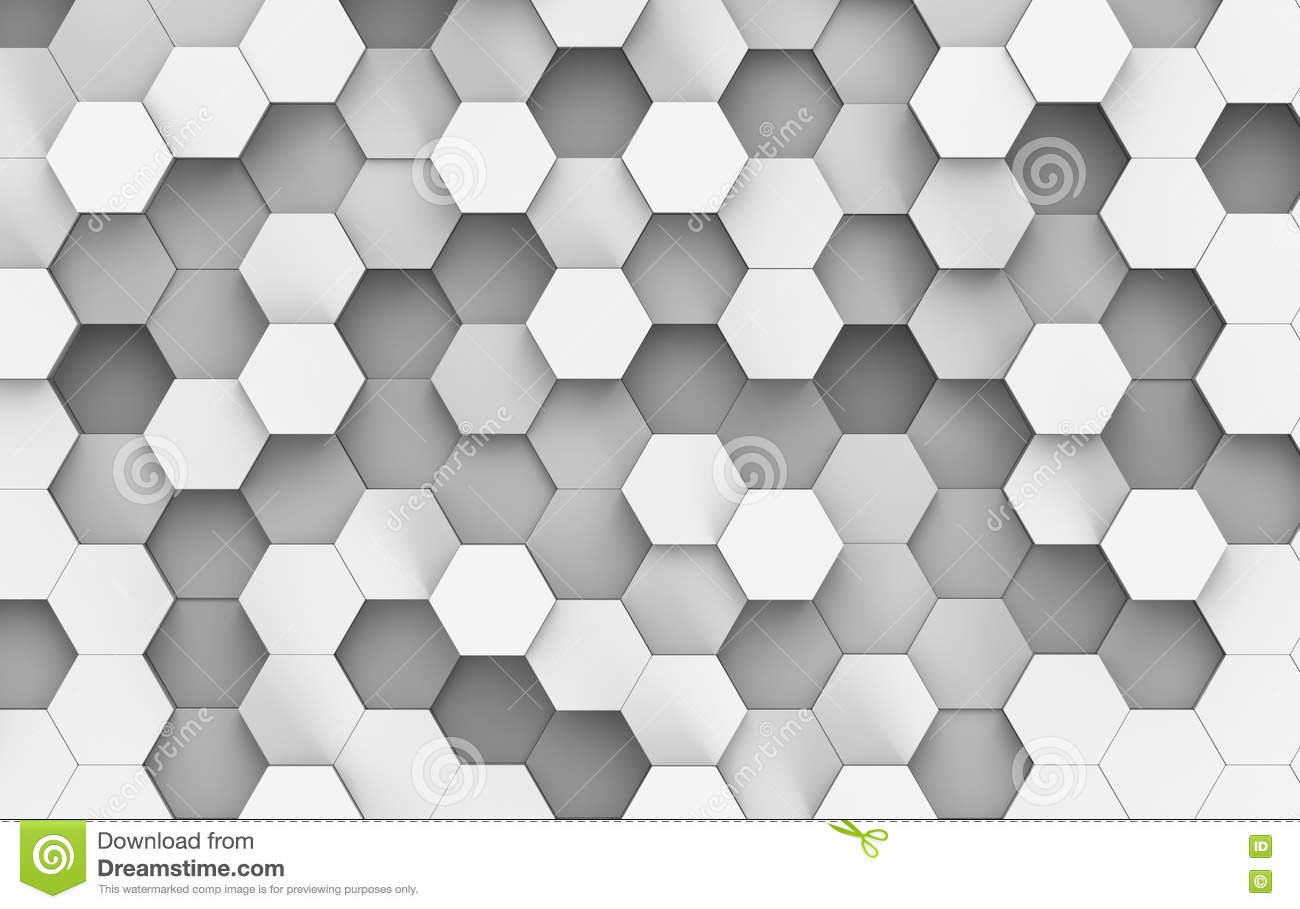 White And Grey Hexagon Background Texture 3d Render Stock