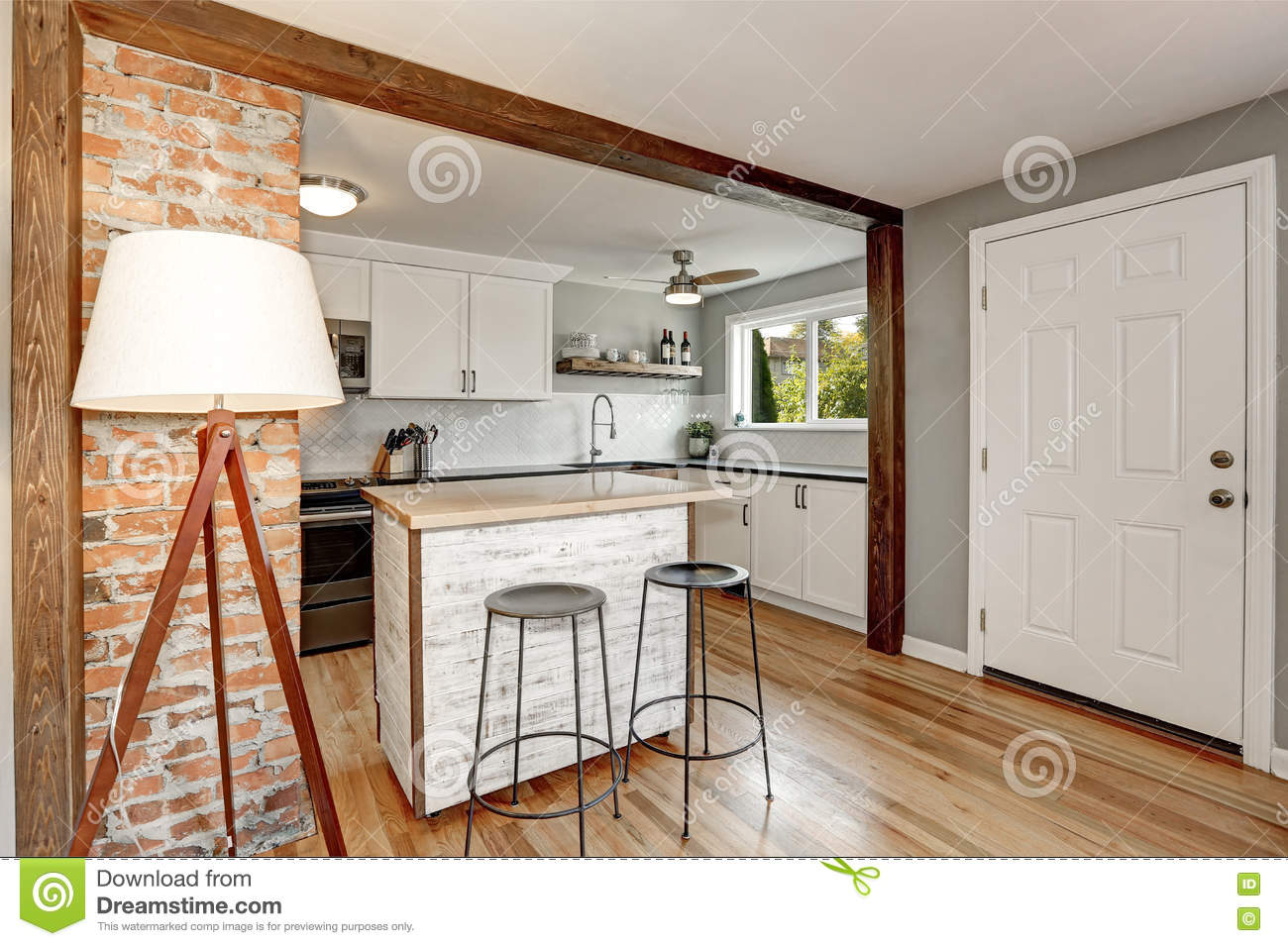 White And Grey Kitchen Room Interior Stock Photo - Image of ...