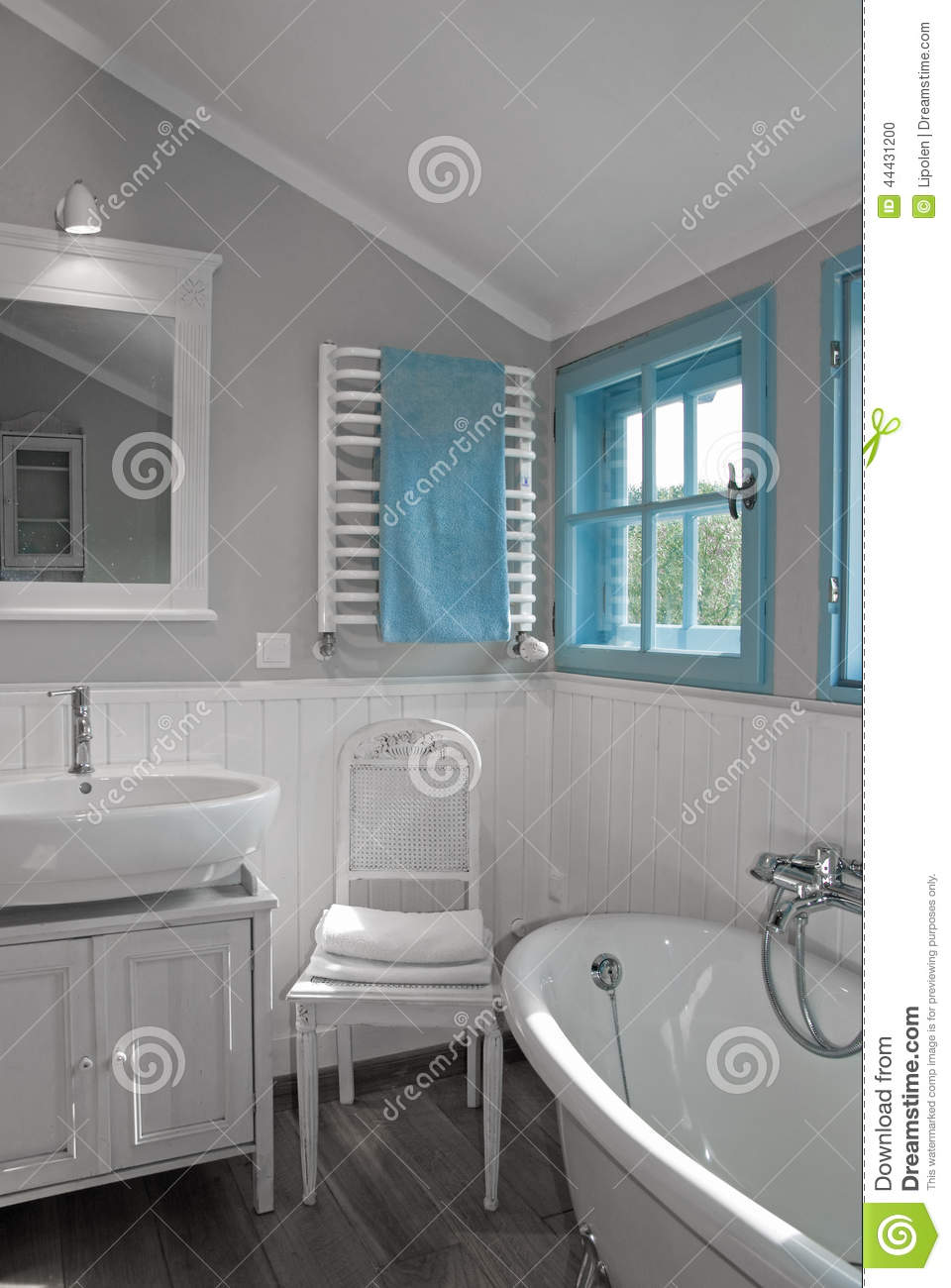 White Grey Rustic Bathroom With Window Stock Photo Image