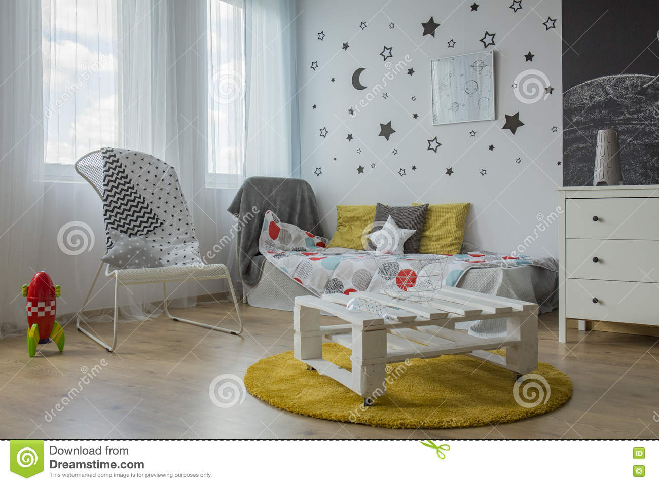 White, Grey And Yellow Bedroom Stock Photo - Image of white, modern ...