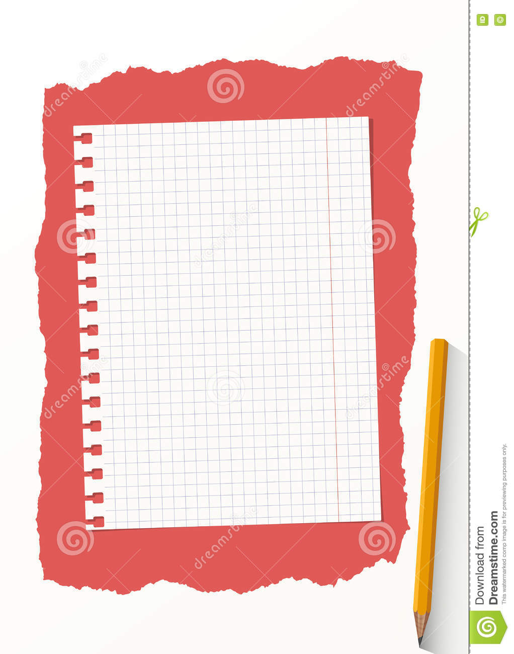 white grid notebook paper sheet are on red background with yellow rh dreamstime com notebook paper clip art free