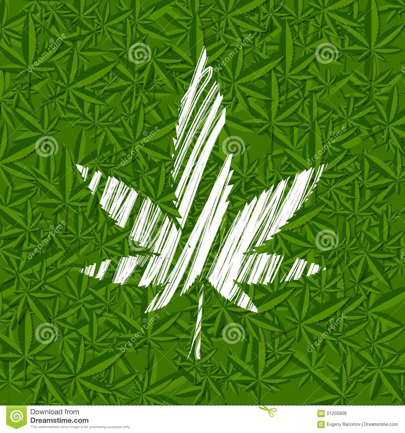 White grunge cannabis leaf on green pattern stock vector for Weed leaf template