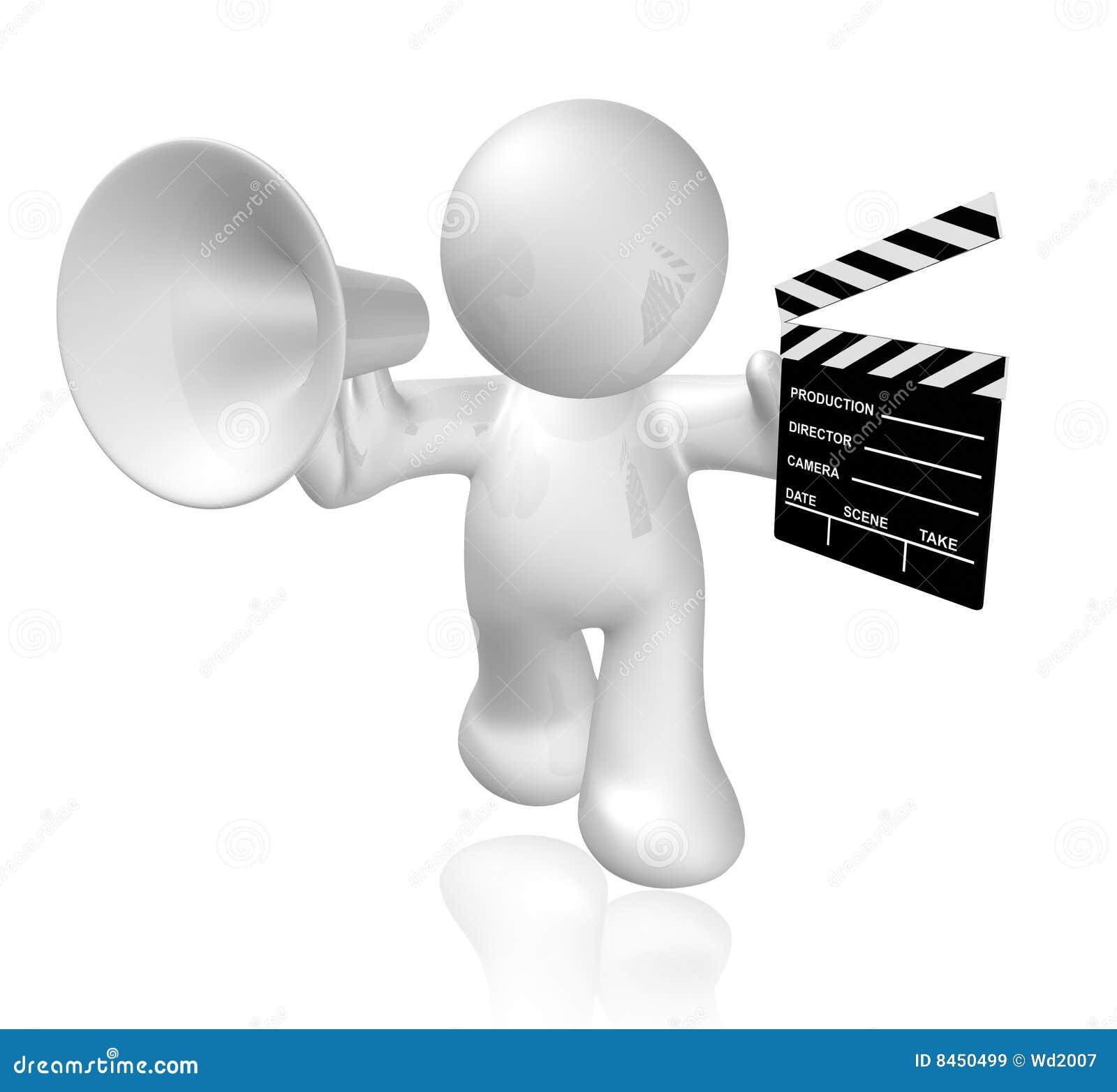 white guy icon holding a film scene clap board stock illustration